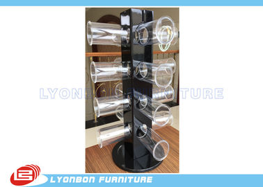Rotated Glossy Black Bracelet Hanging Display Rack With Round Acrylic Hangers