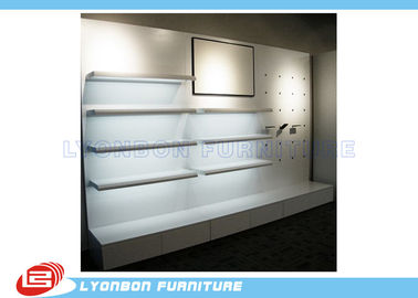 Shop White MDF Wooden Display Racks / Shelf For Shoes , Wall Mount Display